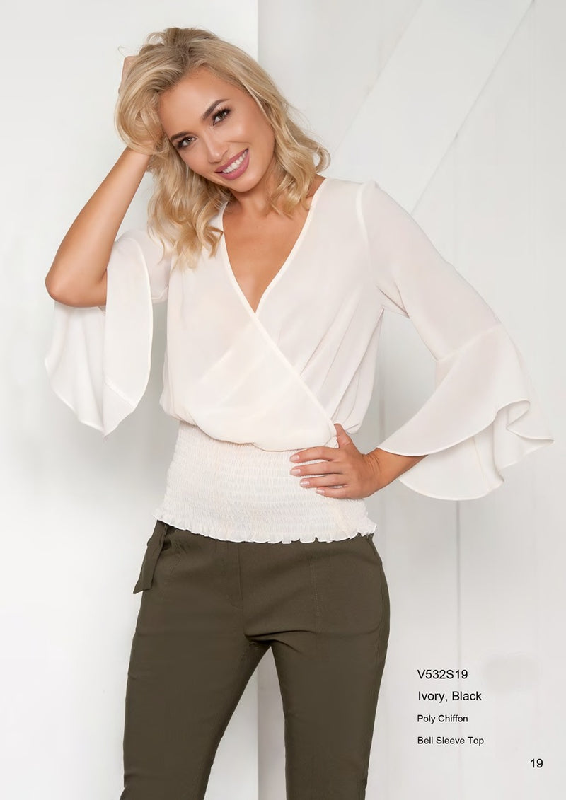 Very Very Bell Sleeve Blouse in Black or Ivory V532