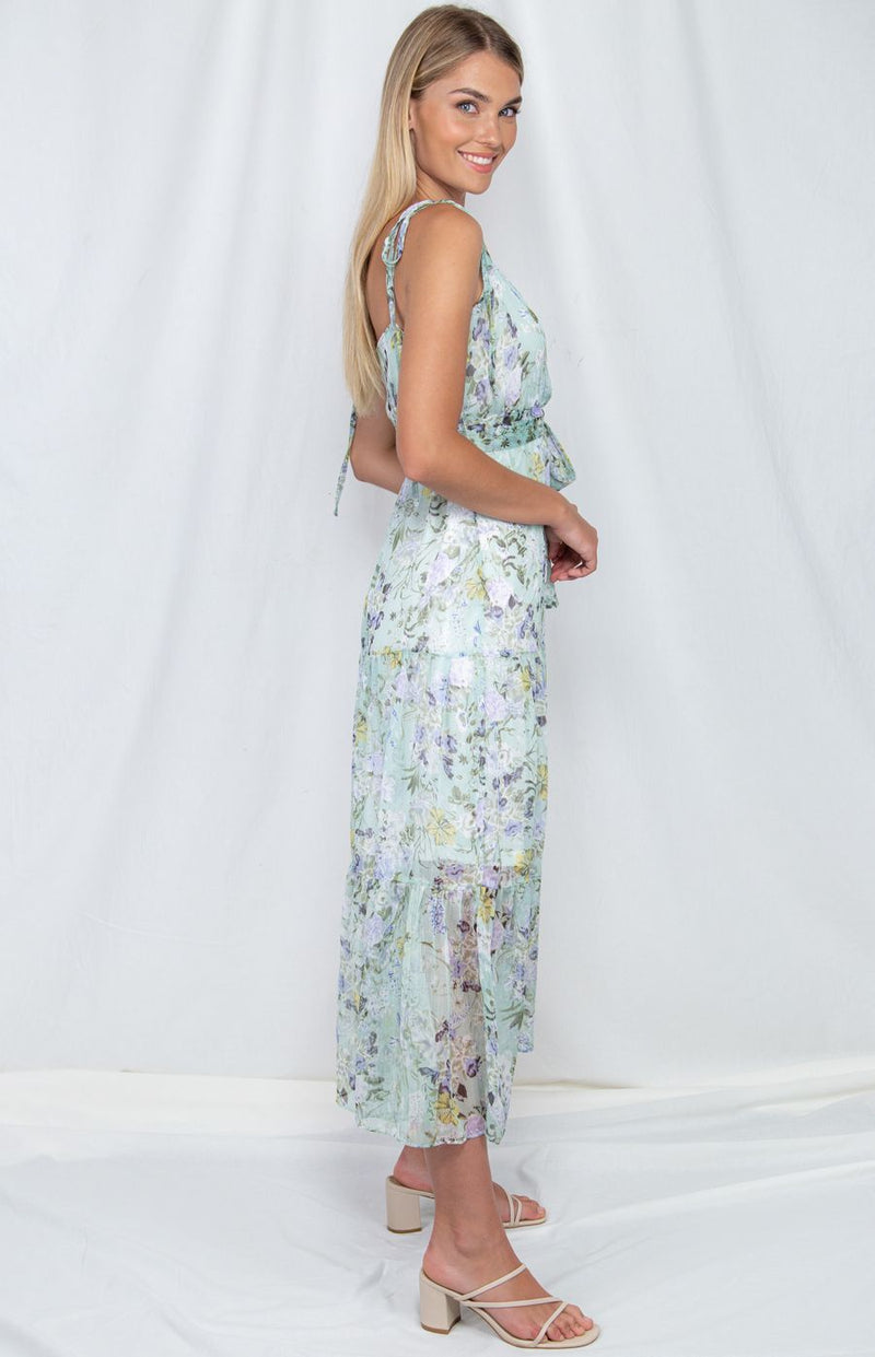 Printed Chiffon Dress in Mint with Tie waist
