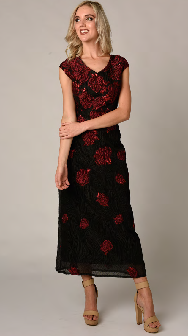 Contony Black Label Black cocktail dress with flowers available in Red or Royal Blue