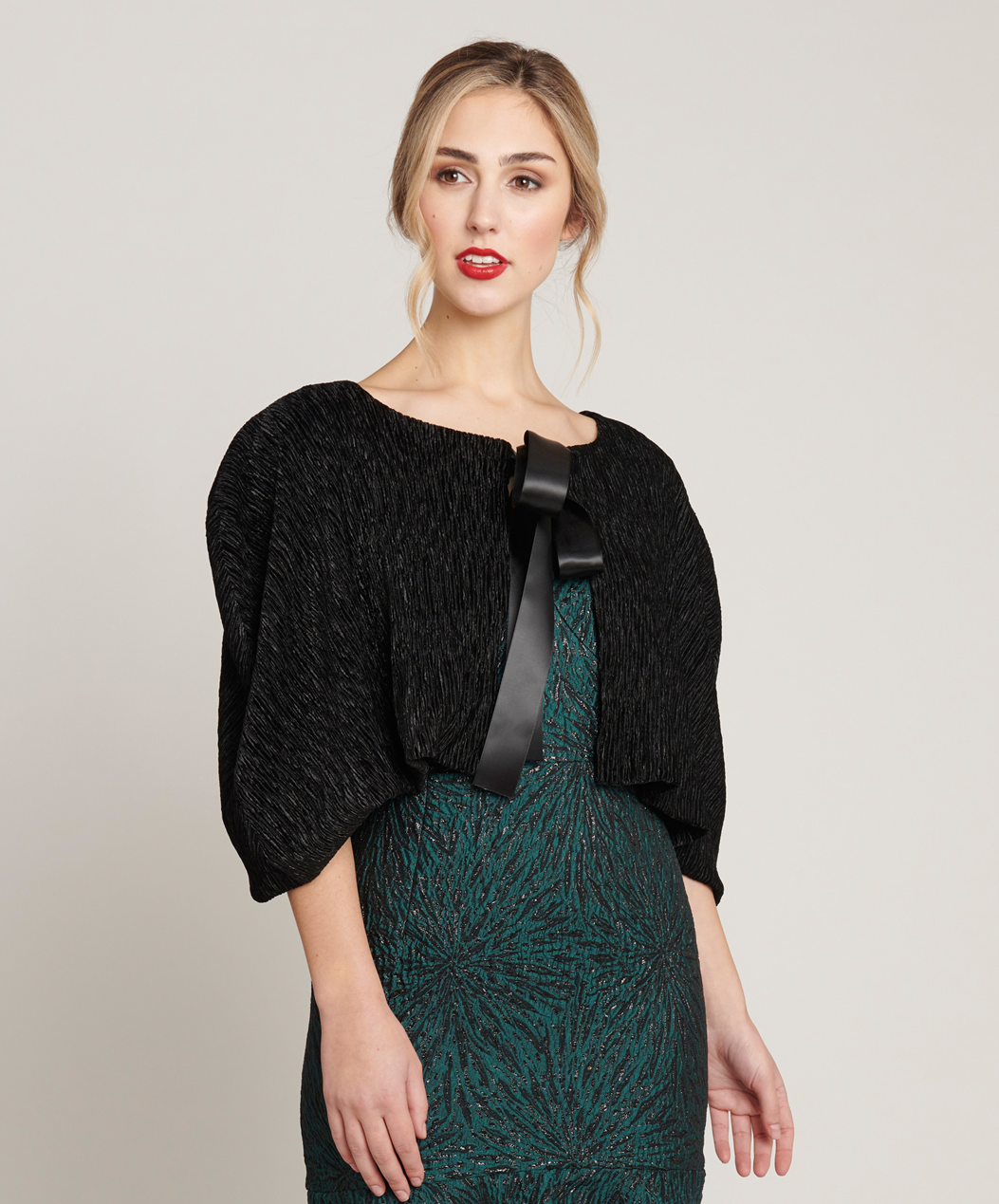Contony Black Label Pleated Velvet Cape