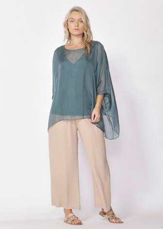 Fate Chasing Waterfalls Silk Blouse in Jade