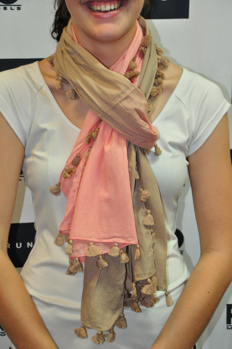 Scarf - Beige x Salmon Pompom edged
