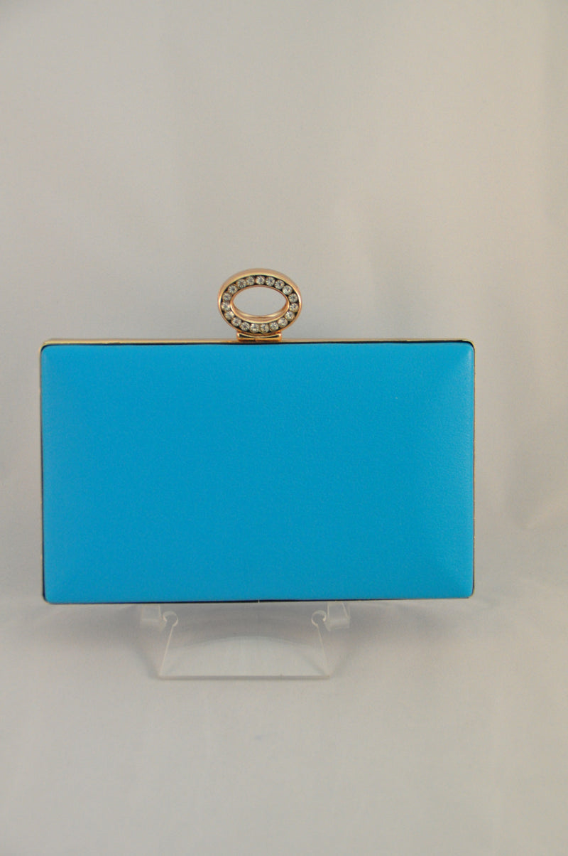 Blue clutch with Diamonte clasp