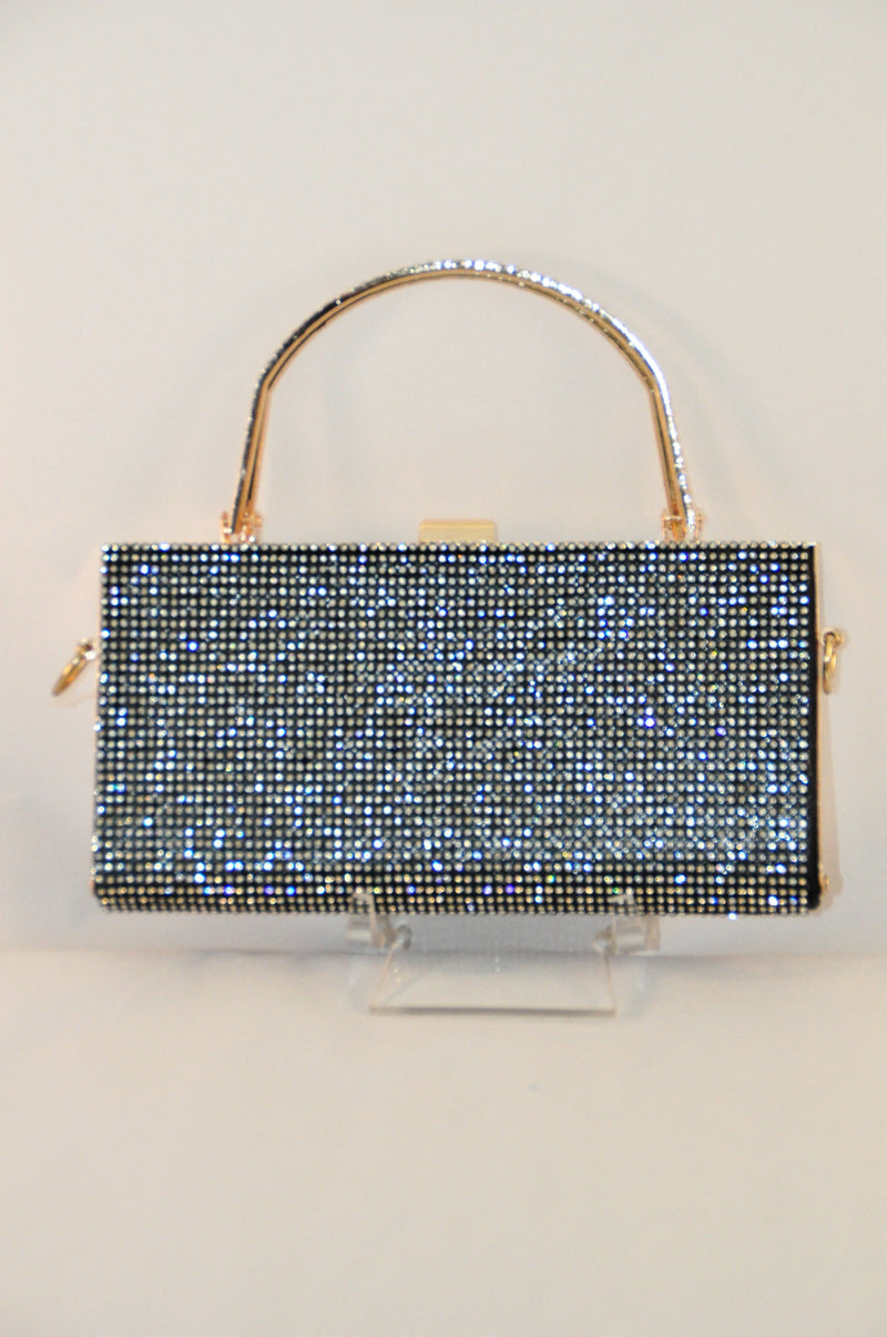 Evening Bag - black satin encrusted with diamontes, metal hinge and handles