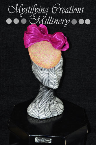 MC Millinery MC1173 Lemon teardrop button with magenta bow and cobweb lace overlay