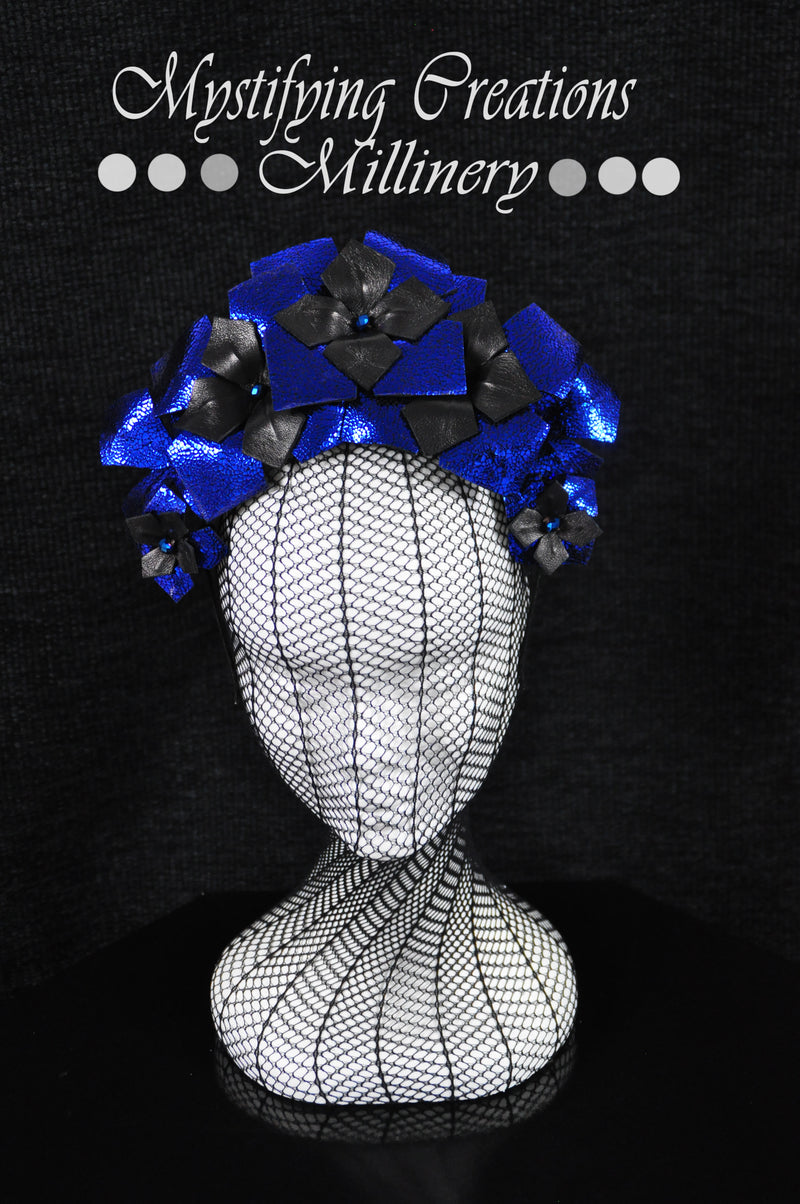 MC Millinery MC1184 Black and blue shattered glass leather crown