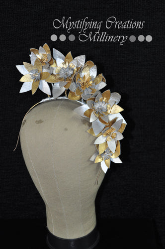 MC Millinery MC1186 Silver and Gold leather starburst flowers on headband