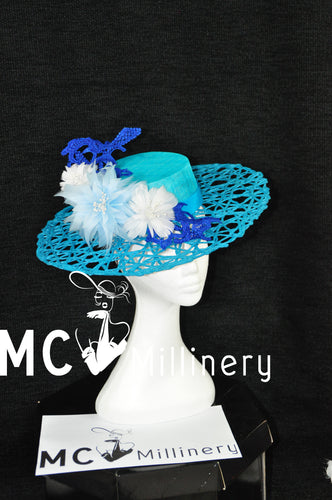 MC Millinery MC1199 Teal green lattice brim boater with feather flowers and lace feature