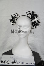 MC Millinery MC1197 black and white leather flower crown