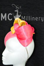 MC Millinery MC1204 watermelon and yellow teardrop button with silk abaca twists