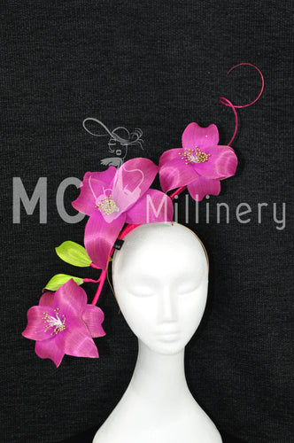 MC Millinery MC1207 magenta and lime silk abaca flowers on a headband