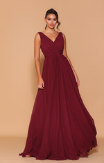 Les Demoiselle - LD1084 (Available in Stock colour Wine, can be colour changed  into over 20 different chiffon colours)