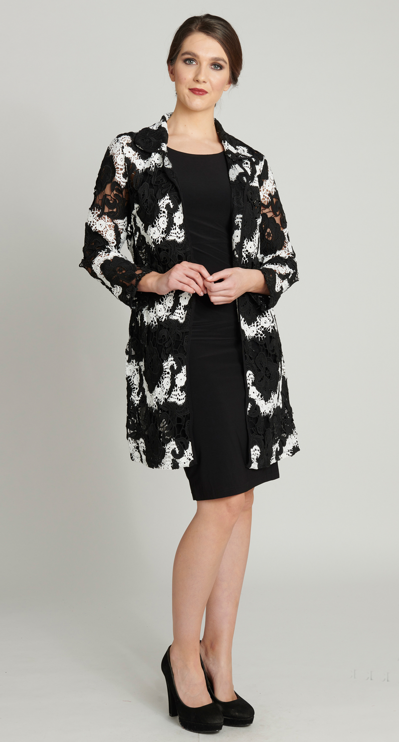 La Scala Black and White Lace Jacket  - Pairs back with Little Black Dress