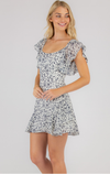 Style State Navy Floral dress with Butterfly sleeves (SDR739B)