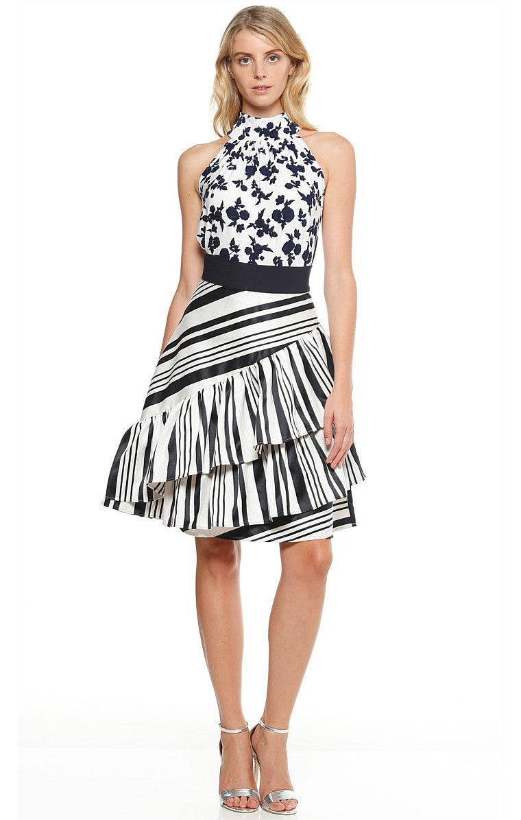 Sacha Drake Totto Ruffle Fit and Flare A-Line Skirt in Navy and white stripe print