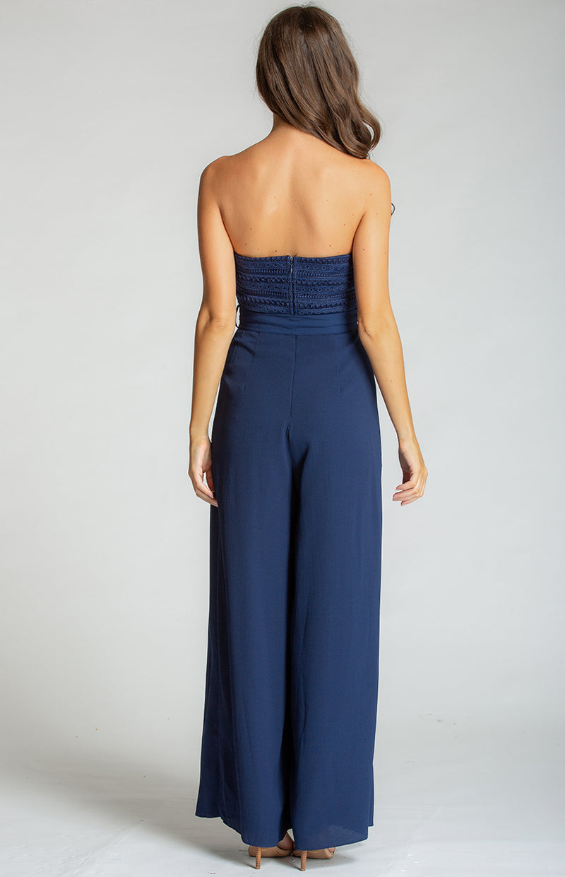Style State Embroidery Strapless Split Leg Jumpsuit in Navy