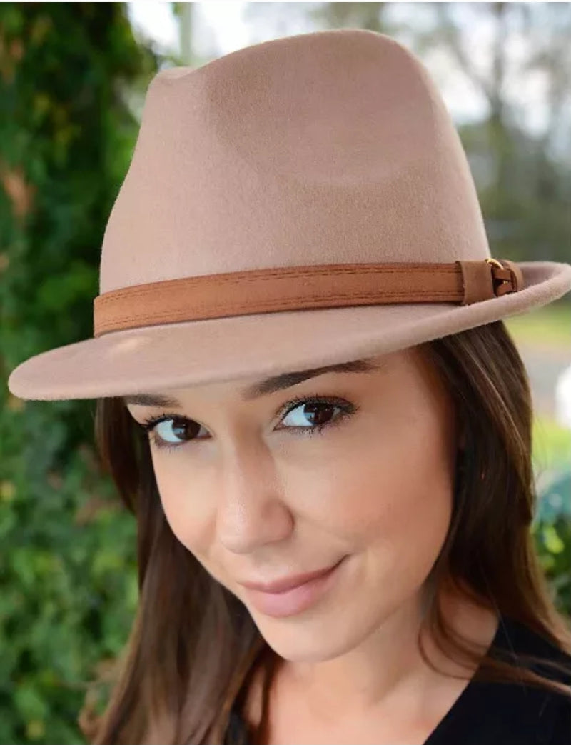 Fedora Hat with Tan Band and Small brim Camel
