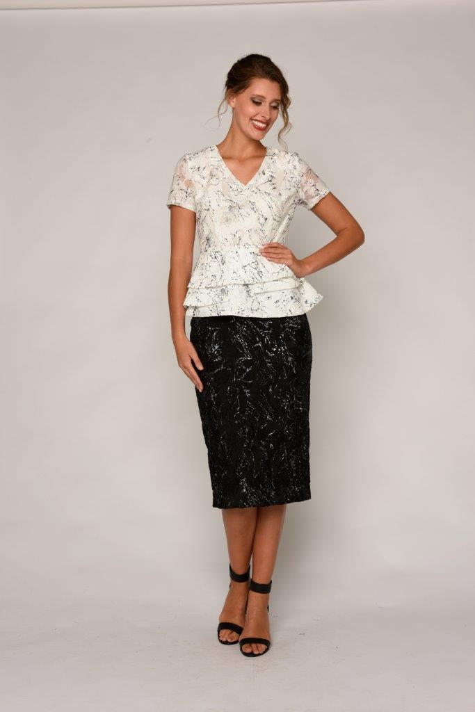 La Scala Skirt to match peplum top available in Ivory or Black