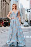Tinaholy - T1120 Pastel Blue and Nude gown. Available to order in other sizes