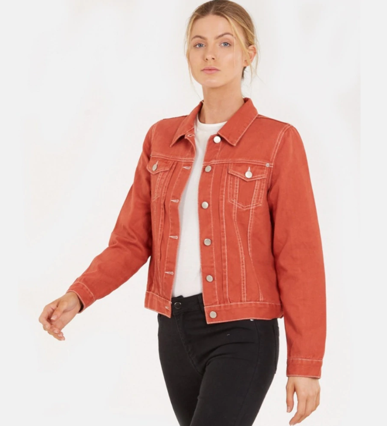 Amelius Vintage Denim Jacket in Rust
