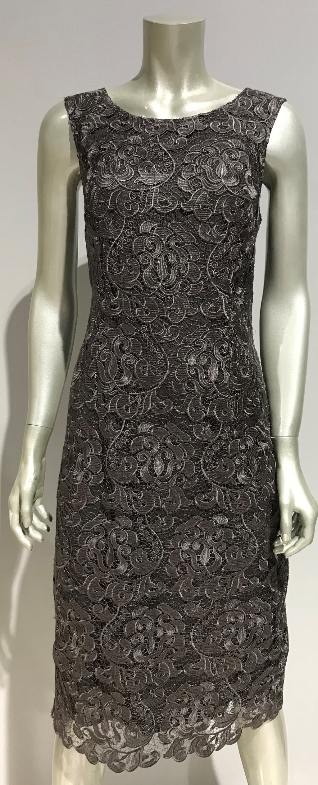 Yesadress sleeveless lace dress IN Silver or Navy - Cardigan over is separate to dress Y223