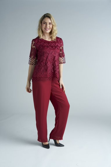 Yesadress Layered Chiffon Pants Y232 in Burgundy, Plum, Navy, Teal and Shiraz