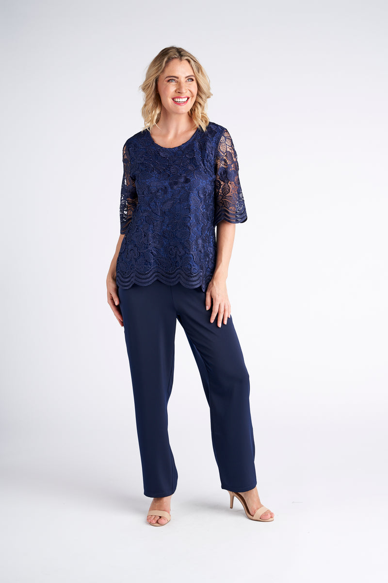 Yesadress Lace 3/4 sleeve Top in Navy or Pink Y261