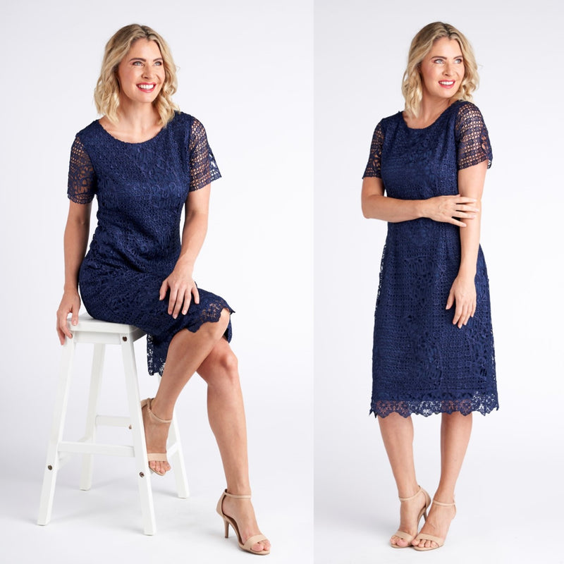 Yesadress cap sleeve lace dress  in Blue, Green, Navy or Pink Y283