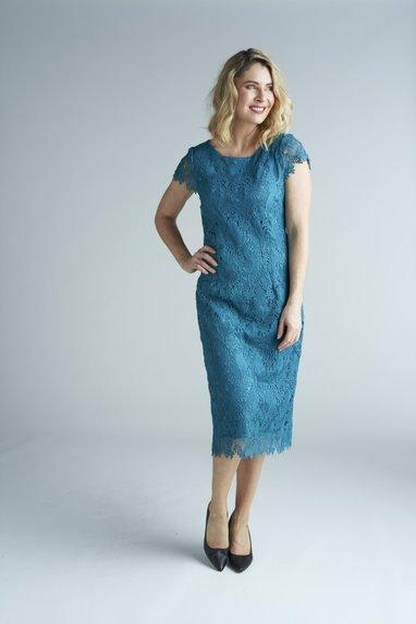 Yesadress woven lace cap sleeve dress Y306 available in Navy, Shiraz or Teal
