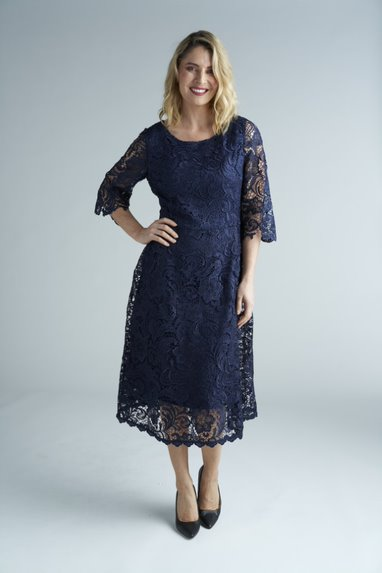 Yesadress woven lace 3/4 sleeve dress Y320 in Navy, Teal or Mocha