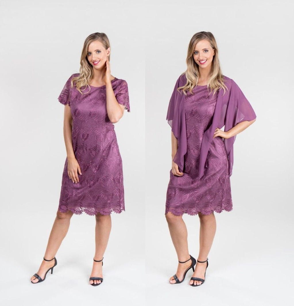 Yesadress cap sleeve lace dress  in Mauve- Cardigan over is separate to dress Y188
