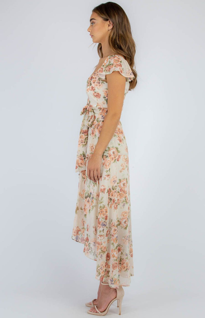 Floral Butterfly Sleeve Tiered Maxi in Peach
