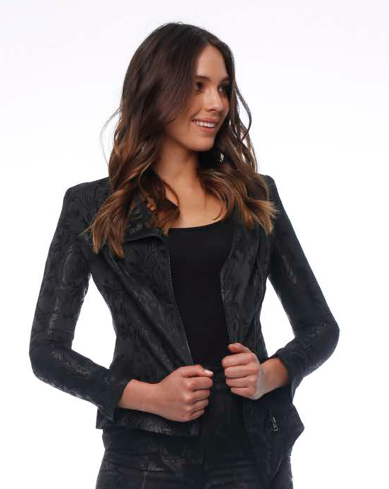 Pink Ruby Palace Jacket Black Embossed