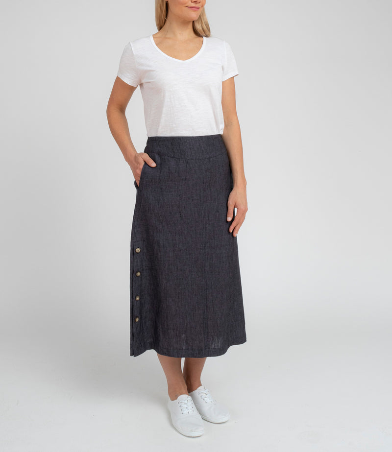 Jump Button Detail Linen Skirt In Dusty Olive ONLY NOT THE PICTURED NAVY