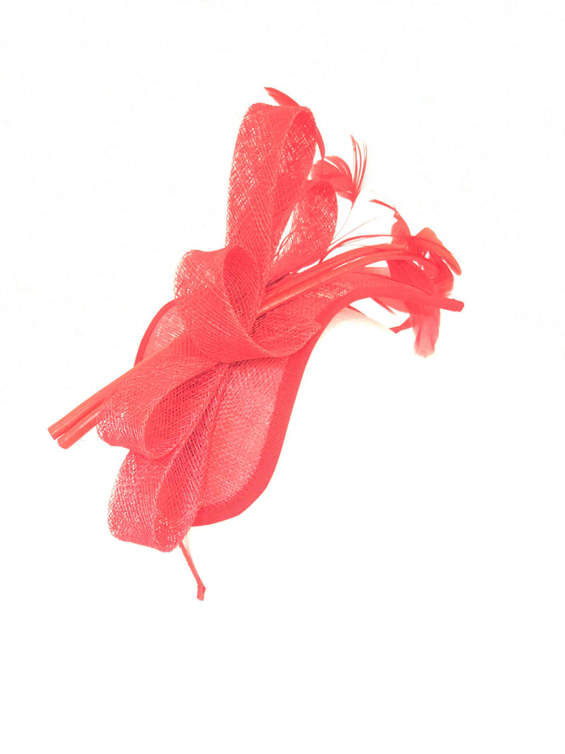 Distinctive Hats red fascinator  18403