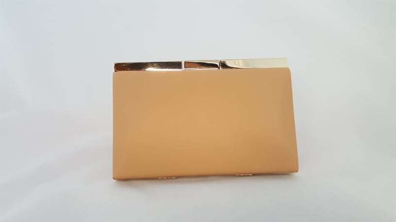 Nude clutch with gold trim 810