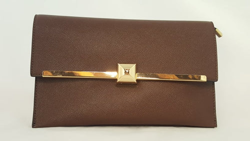 Coffee envelope clutch with gold trim 575