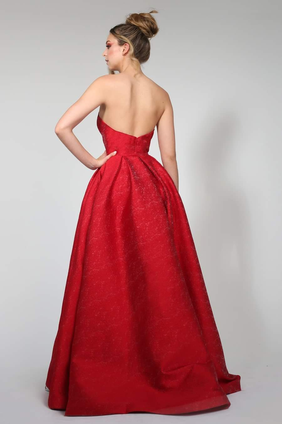 Tinaholy - TA661 Red Jacard fabric gown