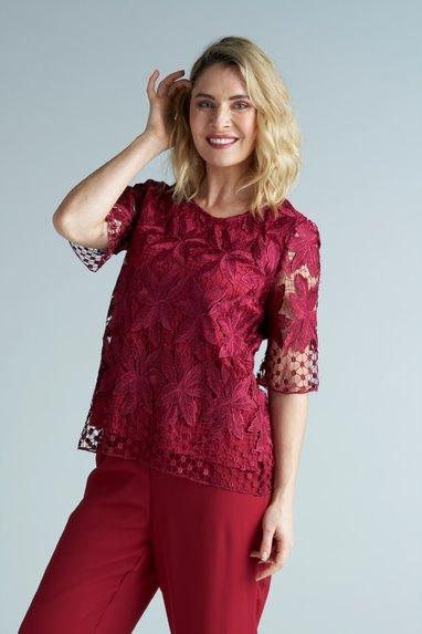 Yesadress woven lace half sleeve Top in Navy, Shiraz or Teal Y321