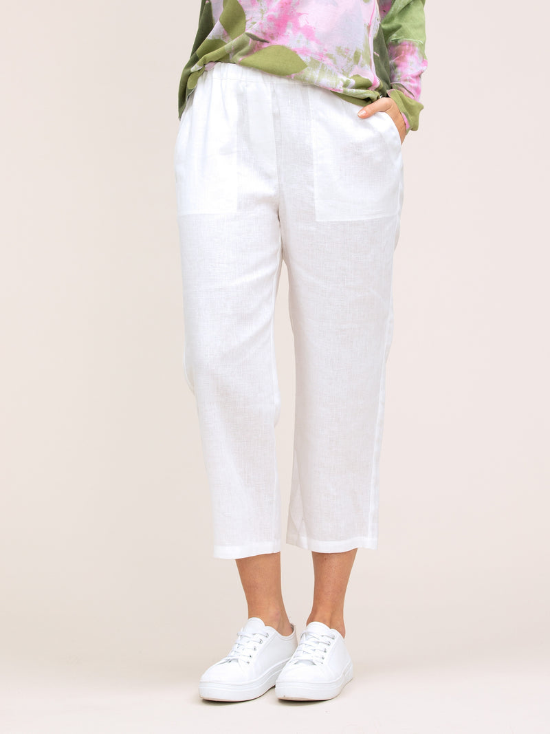 Yarra Trail Washer Linen Cropped Pant in Crisp White
