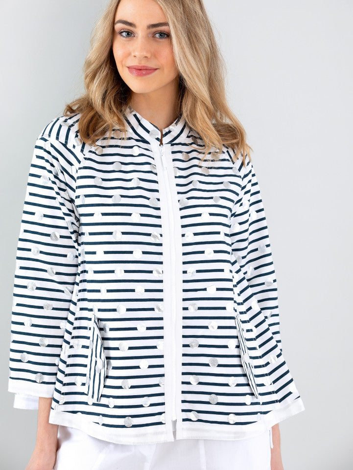 Marco Polo Summertime Jacket Navy Stripe with silver spots