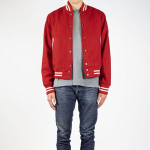 WOOL VARSITY JACKET - RED