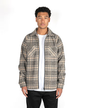 Load image into Gallery viewer, LINED ZIPPER FLANNEL - GREY/YELLOW