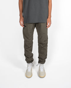 CORDED NYLON PANTS - CHARCOAL MOSS