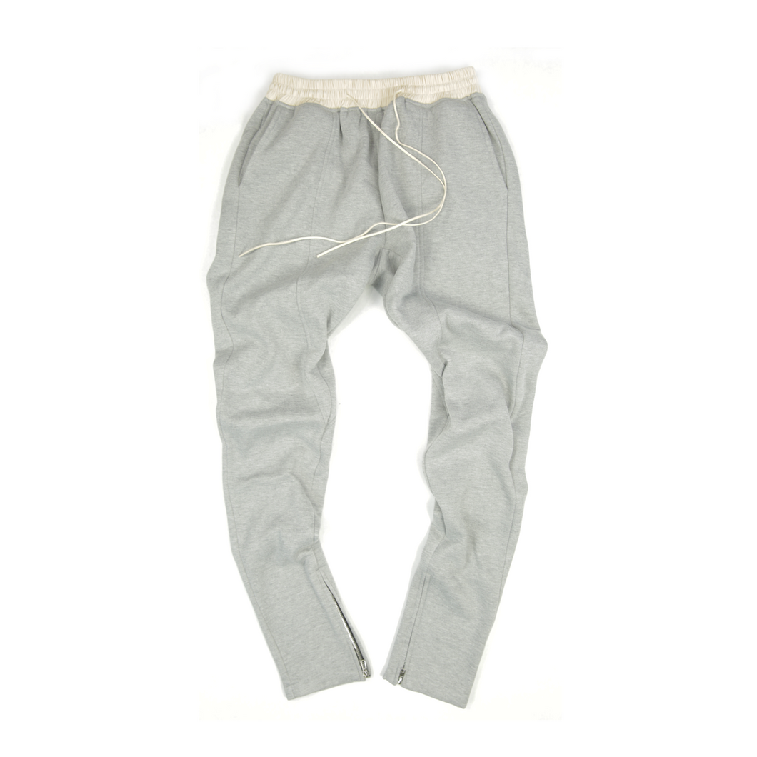 FLEECE ZIPPER PANTS -  HEATHER GREY