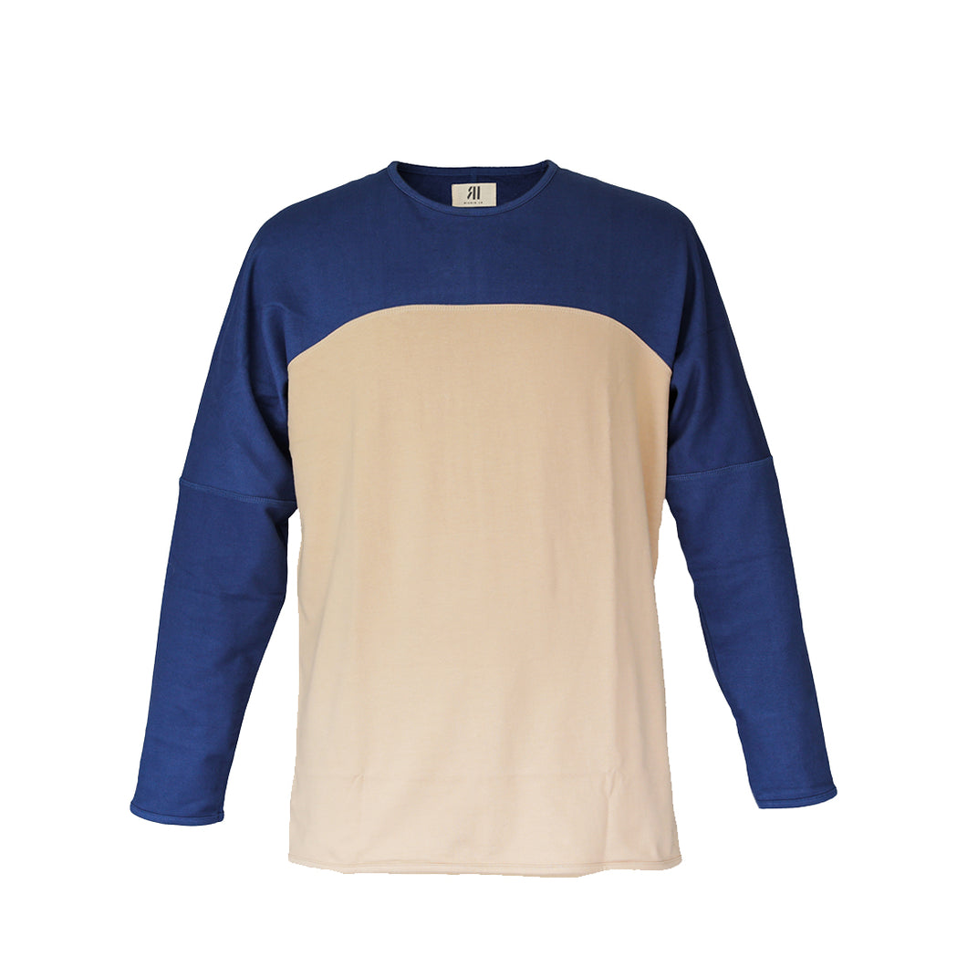 PANEL LONG SLEEVE - TAN/DEEP BLUE