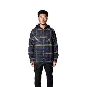 FLANNEL HOODED JACKET - BLUE