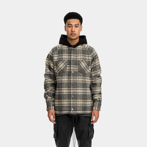 HOODED FLANNEL JACKET - BLACK