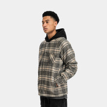 Load image into Gallery viewer, HOODED FLANNEL JACKET - BLACK