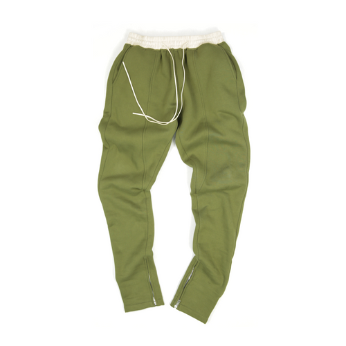 FLEECE ZIPPER PANTS - OLIVE